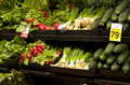 Healthy vegetables on store shelves Royalty Free Stock Photo