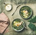 Healthy vegetarian protein rich breakfast bowls flat-lay