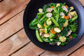 Healthy vegetarian chinese food cap cay top view portrait of Stock Photo