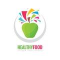 Healthy vegetarian food - business logo template concept illustration. Fresh juice creative sign. Green apple symbol.