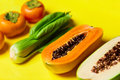 Healthy Vegetarian Nutrition. Raw Organic Fruits, Vegetables Bac Royalty Free Stock Photo