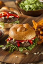 Healthy vegetarian portobello mushroom burger with cheese and veggies Stock Photos