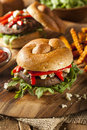 Healthy vegetarian portobello mushroom burger with cheese and veggies Stock Photo