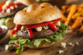 Healthy vegetarian portobello mushroom burger with cheese and veggies Stock Image