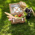 Healthy vegetarian summer picnic hamper with beers Royalty Free Stock Photo