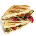 Healthy veggie panini vegetable or focaccia on white Stock Photos