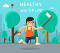 Healthy way of life sport monopod selfie in park exercise and run active athlete vector illustration Royalty Free Stock Images