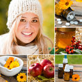 Healthy in the winter collage with young woman alternative medicine and fruits Royalty Free Stock Photo