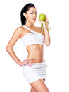 Healthy woman with apple portrait of a and bottle of water fitness and eating lifestyle concept Royalty Free Stock Images
