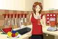 Healthy woman drinking fruit juice a vector illustration of in the kitchen Royalty Free Stock Photo