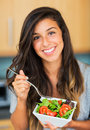 Healthy woman eating salad beautiful dieting concept lifestyle Royalty Free Stock Photography