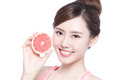 The healthy woman with grapefruit