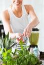 Woman preparing vegetable juice Royalty Free Stock Photo