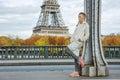 Healthy woman on Pont de Bir-Hakeim bridge looking into distance Royalty Free Stock Photo