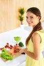 Healthy Woman Preparing Vegetarian Dinner. Food, Lifestyle. Diet Royalty Free Stock Photo