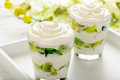 Healthy yogurt dessert with kiwi fruit, jell and cream in glass. Royalty Free Stock Photo