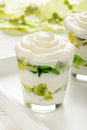 Healthy yogurt dessert with kiwi fruit, jell and cream in glass . Royalty Free Stock Photo
