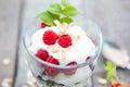 Healthy yogurt dessert with muesli raspberries and black currants on wooden background Stock Image