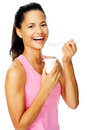 Healthy yogurt woman Royalty Free Stock Images