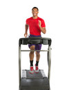 Healthy young african american running in treadmill isolated on white background Stock Photography