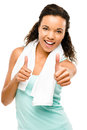 Healthy young mixed race woman thumbs up isolated on white backg girl showing Royalty Free Stock Image