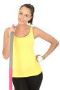 Healthy Young Woman Holding a Dumb Bell and Hula Hoop