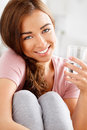 Healthy young woman holding glass of water Royalty Free Stock Photo