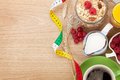 Healty breakfast with muesli, berries, orange juice, coffee and Royalty Free Stock Photo