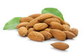 Heap of almonds brown roast on white background Royalty Free Stock Photography