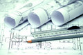 Heap of architectural design and project blueprints drawings of house technical Stock Images
