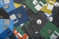 Heap of color floppy disks isolated image a Stock Photo