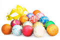 Heap of colorful christmas baubles and carnival mask on white ba Royalty Free Stock Photo