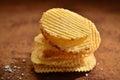 Heap of crisps a little salty Stock Images