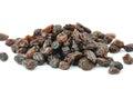 Heap of dark raisins on white background Royalty Free Stock Photo