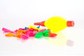 Heap of deflated balloons isolated on white with clipping path Royalty Free Stock Photos