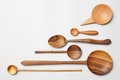 Heap of different kitchen wooden utensils cutlery Royalty Free Stock Photo