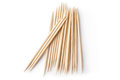 Heap of double sharp toothpicks top view laying on a white Royalty Free Stock Photos