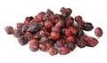 Heap of dry rosehip fruit isolated on white background Stock Photo