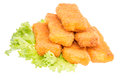 Heap of Fish Fingers on salad Royalty Free Stock Photography