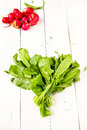 Heap of fresh sorrel and radish on a wooden design white backgro healthy organic vegetables background Royalty Free Stock Image