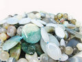 Heap of green blue and grey colored beads Stock Photography