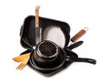 Heap kitchen bakeware pans pot Royalty Free Stock Images