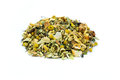 Heap of loose mixture of herbal tea on white background Royalty Free Stock Photo