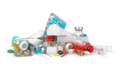 Heap of medical syringes, bottles, pills, Royalty Free Stock Photo