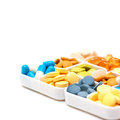 Heap of medicine pills in the pill case Royalty Free Stock Image