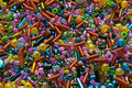Heap of multicolor beads different forms Stock Image