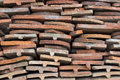 Heap of old terracotta tile roof Royalty Free Stock Photo