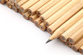 Heap of pencil with one sharpen over the white background Stock Photography