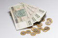 Heap of polish currency with gold coins closeup Royalty Free Stock Photo