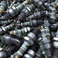 Heap, pool of spark plugs Royalty Free Stock Photo